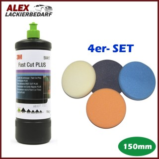 3M 50417 Perfect-it III Schleifpaste PLUS 1 kg + 4 x Polierschwamm Set 150mm