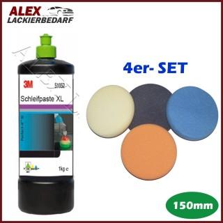 3M 51052 Schleifpaste XL 1 kg + 4 x Polierschwamm Set 150mm
