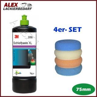 3M 51052 Schleifpaste XL 1 kg + 4 x Polierschwamm Set 75mm