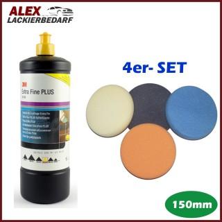 3M 80349 Extra Fine Schleifpaste 1L + 4 x Polierschwamm Set 150mm