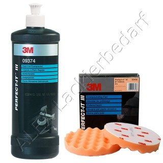 3M 09374 Perfect-it III Schleifpaste 1kg + 2 x 3M 50456 Polierschwamm 133mm orange