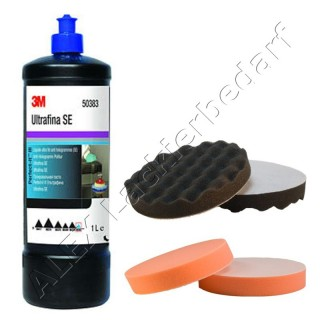 3M 50383 Perfect-it III Anti-Hologramm Politur 1Liter + Polierschwamm 180mm 2-er Set