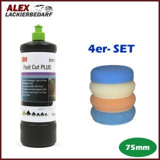 3M 50417 Perfect-it III Schleifpaste PLUS 1 kg + 4 x Polierschwamm Set 75mm
