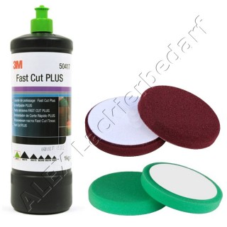 3M 50417 Perfect-it III Schleifpaste PLUS 1 kg +  Polierschwamm 150mm 2-er Set