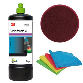 3M 51052 Perfect-it III Schleifpaste XL 1 kg + Polierschwamm brombeer 175mm+ 1 Poliertuch