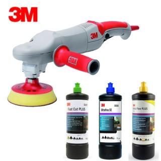 3M 64392 Poliermaschine + 3M 09553 Stützteller 125mm + 3 x 3M Politur 50417 50383 80349
