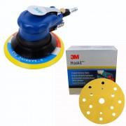 Premium Exzenterschleifer Druckluft 150mm + 50 3M Hookit Schleifscheiben Set P150 - P400