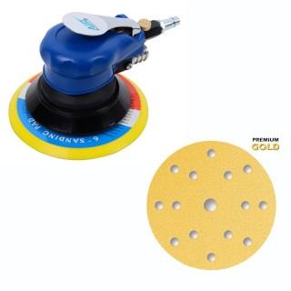 Premium Exzenterschleifer Druckluft 150mm + 50 Premium Gold Schleifscheiben Set P80 - P400