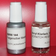 Lackstift BMW 144 Felgensilber metallic + Klarlack 2x20ml Pinselflasche