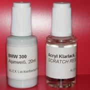 Lackstift BMW 300 Alpinweiß + Klarlack 2x20ml Pinselflasche