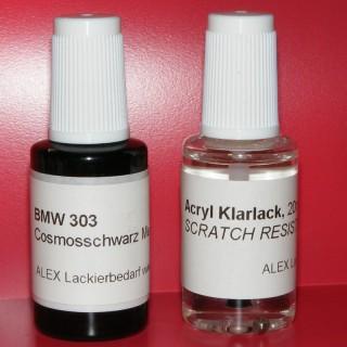 Lackstift BMW 303 Cosmos-Schwarz metallic + Klarlack 2x20ml Pinselflasche