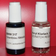 Lackstift BMW 317 Orientblau metallic + Klarlack 2x20ml Pinselflasche
