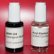 Lackstift BMW 324 Oxfordgrün metallic + Klarlack 2x20ml Pinselflasche