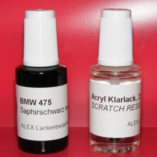 Lackstift BMW 475 Saphir-Schwarz metallic + Klarlack 2x20ml Pinselflasche