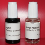 Lackstift Ford Panther Schwarz Metallic + Klarlack 2x20ml Pinselflasche