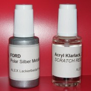 Lackstift Ford Polar Silber Metallic + Klarlack 2x20ml Pinselflasche