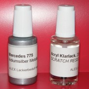Lackstift Mercedes Benz MB 775 Iridiumsilber metallic + Klarlack 2x20ml Pinselflasche