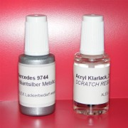 Lackstift Mercedes Benz MB 744 Brilliantsilber met + Klarlack 2x20ml Pinselflasche