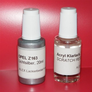 Lackstift Opel Z163 Lichtsilber + Klarlack 2x20ml Pinselflasche