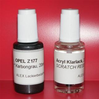 Lackstift Opel Z177 Karbongrau + Klarlack 2x20ml Pinselflasche