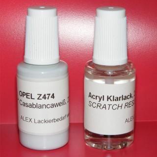 Lackstift Opel Z474 Casablancaweiss + Klarlack 2x20ml Pinselflasche