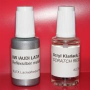 Lackstift VW AUDI SKODA LA7W Reflexsilber metallic + Klarlack 2x20ml Pinselflasche