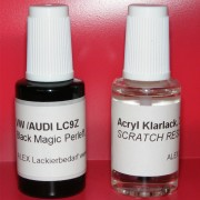 Lackstift VW AUDI SKODA LC9Z Black Magic perleffekt + Klarlack 2x20ml Pinselflasche