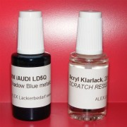 Lackstift VW AUDI SKODA LD5Q Shadow Blue metallic + Klarlack 2x20ml Pinselflasche