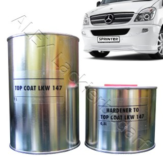 2K Autolack + Härter Arktikweiss Mercedes DB 147 / 9147 LKW Sprinter Aktros 1,5L