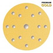 Premium Gold Schleifscheiben Ø 150 mm – 15-Loch klett