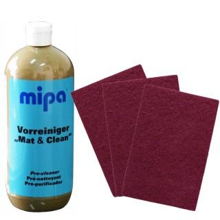 Mipa Vorreiniger Mat & Clean 1 kg + 10 Smirdex Schleifvlies-Pad 150 x 230mm VERY FINE P320