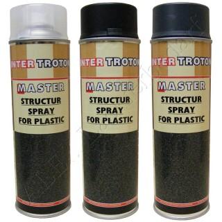 3 x 500ml Master Troton Strukturlack für Kunststoff Spray Bumper Paint Schwarz Grau Farblos