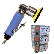 Mini Druckluft Exzenterschleifer 75mm + 150 Schleifscheiben Indasa P80 P240 P400