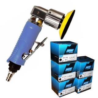 Mini Druckluft Exzenterschleifer 75mm + 76mm Schleifscheiben Norton P80 P150 P220 P320 P400