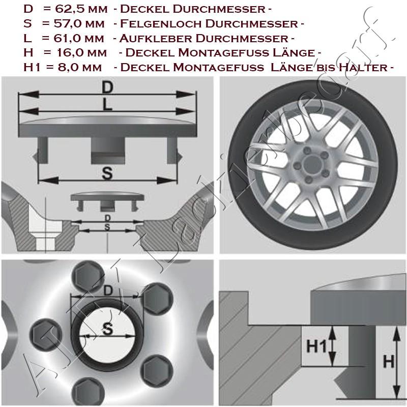 4 x 62,5/57mm Nabenkappen Nabendeckel Felgendeckel Kappen